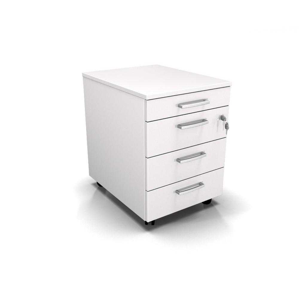 Cassettiera Con Chiave Per Ufficio.Cassettiera Da Ufficio Con Rotelle L 42 X P 56 X H 61 Cm Bianco Oneliving Arredamenti Per Ufficio
